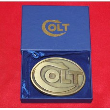 Colt Firearms Factory Colt Logo Brass Belt Buckle.