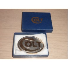 Colt Firearms Factory Colt Logo Rhodium Belt Buckle.