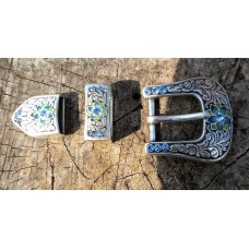 Milan Buckle Set with Blue Crystal. 1""
