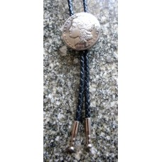 Bolo Tie Morgan Dollar Concho and Nickel Plated Tips.