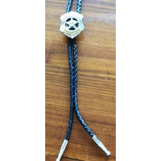 Bolo Tie US Marshal Tombstone Concho and Nickel Plated Tips.