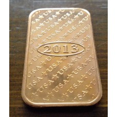 Copper .999 Fine  one AVDP oz. Copper Bar.(4)