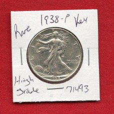 1938 P Walking Liberty Silver Half Dollar High Grade