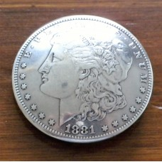 "1881 Morgan Dollar Concho with Scarf Slide Adapter  1½"" ( 38mm)"