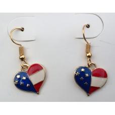 Stars and Stripes Heart Pendant Earing Set.