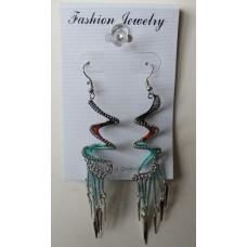 Black Orange Turquoise Spiral Earrings
