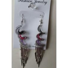 Black Pink Purple Spiral Earrings