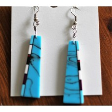 Native American Mosaic Inlayed Slab Turquoise Style Earrings.
