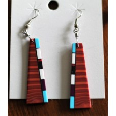 Native American Mosaic Inlayed Brown Slab Style Earrings.
