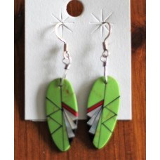 Native American Mosaic Inlayed Green Leaf Slab Style Earrings.