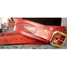 Handmade Leather Revolver Belt with Diamond Basket Weave and Concho style Design in Medium Brown