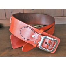 Handmade Leather Revolver Belt with Plain  Design and 12 Bullet Loops in Light Brown