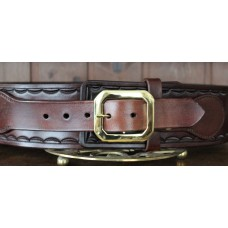 Handmade Leather Revolver Belt with Border Stamp  Design and 15 Bullet Loops in Mid Brown