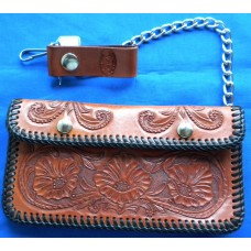 Handmade Biker Style Wallet in Medium Tan.