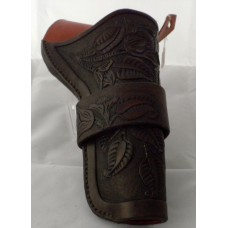 Handmade Cross Draw Lined Holster in Dark Brown Leaf Design RH