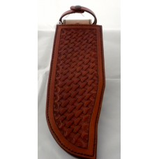 Handmade Lined Bowie Knife Sheath with Filler in Medium Brown with Basket Weave Design