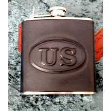 Handmade Leather Bound 6oz Flask US Logo  Design in Black