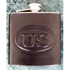 Handmade Leather Bound 6oz Flask US Design in Black