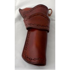 "Handmade Eldorado Holster Diamond Border Stamp Design in Medium Brown 7½"" RH:"