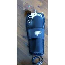 Handmade Gunfighter Holster with Plain Design, Eagle Concho and Border Stamp. Black RH: