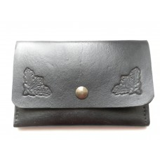 Handmade Leather Credit Card Holder,Oak Leaf Motif in Black Leather.