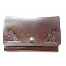 Handmade Leather Credit Card Holder, Oak Leaf Motif in Medium Brown Leather.