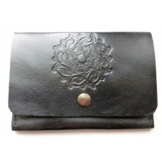Handmade Leather Credit Card Holder, Celtic Motif in Black Leather.