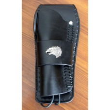Handmade Gunfighter Holster with Design, Eagle Concho and Border Stamp. Black LH: