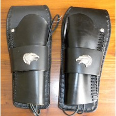 Handmade Gunfighter Holster Set with Plain Design, Eagle Concho and Border Stamp. Black RH & LH