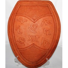Hand Carved Leather Ranch Brand Toilet Seat Cover