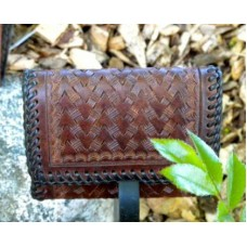 Handmade Tri Fold Wallet in Medium Brown with Lace Edging.