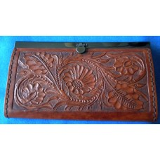 Handmade Leather Clutch Purse with Hand carved Floral Design.