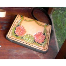 Handmade Small Leather Handbag with Flower Design and Zip Pocket.