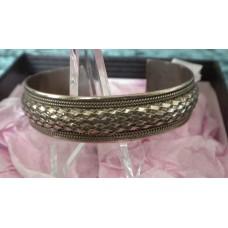 "Vintage Sterling Silver Braided Rope Trim Cuff Bracelet 7"""