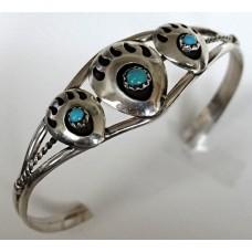 "Navajo Sterling Silver Bear Claw Bracelet 5½"""