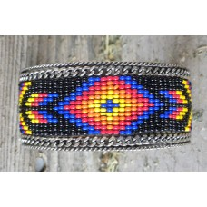 "Handcrafted Southwest Style Beaded Cuff Bracelet Orange/Blue/Black.1½"""