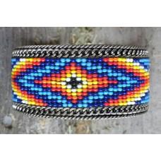 "Handcrafted Southwest Style Beaded Cuff Bracelet Yellow/Orange/Blue/Black/Yellow.1½"""