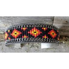 "Handcrafted Southwest Style Beaded Cuff Bracelet Yellow/Orange/Black.¾"""