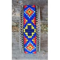 """Handcrafted Southwest Style Beaded Cuff Bracelet Black/White/Orange.1"""""""