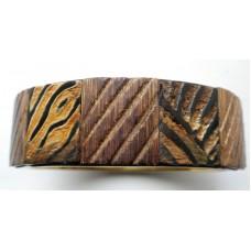 Handmade Armband Wood Design on Brass Cuff.