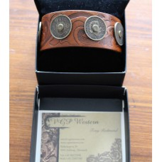 Handmade 5 1976  Nederland Coin Leather Bracelet in Brown With Scroll Design.