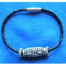 Handmade Black Leather Bracelet with Bead Decoration.