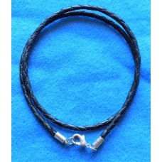 Handmade Black Leather Double Bracelet with 3mm Cord.