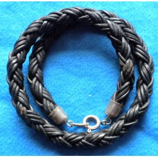 Handmade Black Leather Double Bracelet with 8mm Platted Cord.