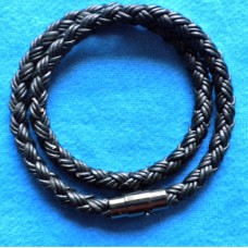 Handmade Black Leather Double Bracelet with Platted 6mm Cord.