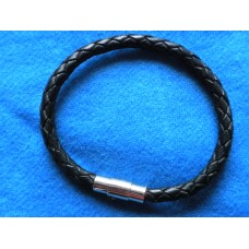 Handmade Black Leather Bracelet with Platted 5mm Cord.