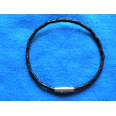 Handmade Black Leather Bracelet with Platted 3mm Cord.