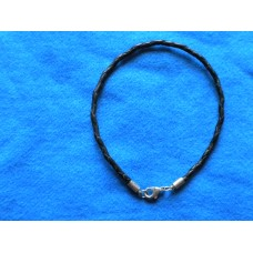 Handmade Black Leather Bracelet with 3mm Cord.