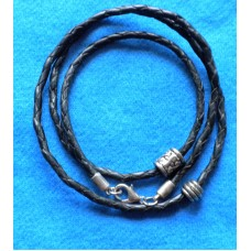 Handmade Black Leather Necklace/ Bracelet with 2 beads and 3mm Cord.