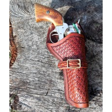 Handmade Cross Draw Holster Basket Weave Design Medium Brown RH: